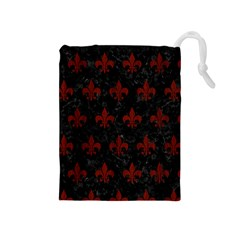 Royal1 Black Marble & Red Wood Drawstring Pouches (medium)  by trendistuff