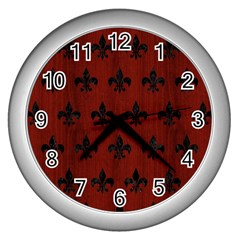 Royal1 Black Marble & Red Wood (r) Wall Clocks (silver)  by trendistuff