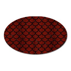 Scales1 Black Marble & Red Wood Oval Magnet by trendistuff