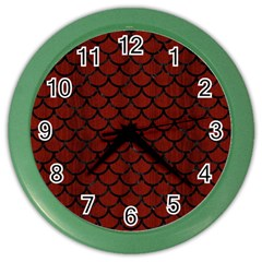 Scales1 Black Marble & Red Wood Color Wall Clocks by trendistuff