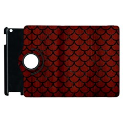 Scales1 Black Marble & Red Wood Apple Ipad 3/4 Flip 360 Case by trendistuff