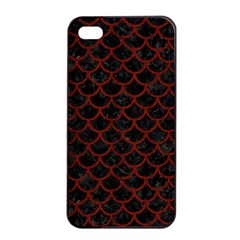 Scales1 Black Marble & Red Wood (r) Apple Iphone 4/4s Seamless Case (black) by trendistuff