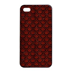 Scales2 Black Marble & Red Wood Apple Iphone 4/4s Seamless Case (black) by trendistuff
