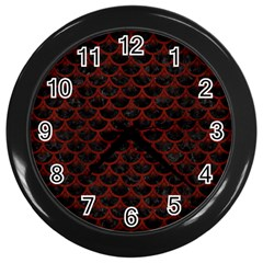 Scales3 Black Marble & Red Wood (r) Wall Clocks (black) by trendistuff