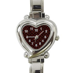 Scales3 Black Marble & Red Wood (r) Heart Italian Charm Watch by trendistuff