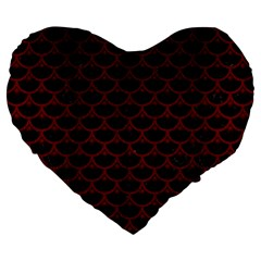 Scales3 Black Marble & Red Wood (r) Large 19  Premium Flano Heart Shape Cushions by trendistuff
