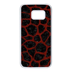 Skin1 Black Marble & Red Wood Samsung Galaxy S7 White Seamless Case by trendistuff