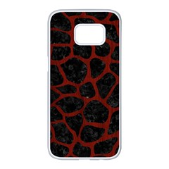 Skin1 Black Marble & Red Wood Samsung Galaxy S7 Edge White Seamless Case by trendistuff
