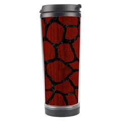 Skin1 Black Marble & Red Wood (r) Travel Tumbler by trendistuff