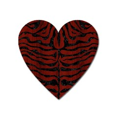 Skin2 Black Marble & Red Wood Heart Magnet by trendistuff