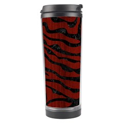 Skin2 Black Marble & Red Wood Travel Tumbler by trendistuff