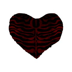 Skin2 Black Marble & Red Wood (r) Standard 16  Premium Flano Heart Shape Cushions by trendistuff