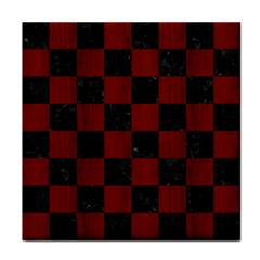 Square1 Black Marble & Red Wood Tile Coasters by trendistuff