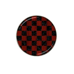 Square1 Black Marble & Red Wood Hat Clip Ball Marker (10 Pack)
