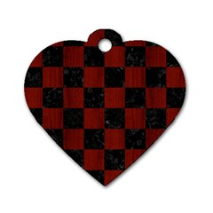 Square1 Black Marble & Red Wood Dog Tag Heart (two Sides) by trendistuff