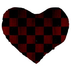 Square1 Black Marble & Red Wood Large 19  Premium Heart Shape Cushions by trendistuff