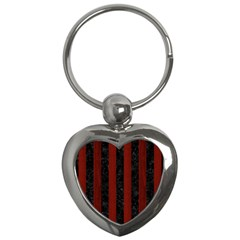 Stripes1 Black Marble & Red Wood Key Chains (heart)  by trendistuff