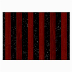 Stripes1 Black Marble & Red Wood Large Glasses Cloth