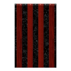 Stripes1 Black Marble & Red Wood Shower Curtain 48  X 72  (small)  by trendistuff
