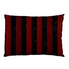 Stripes1 Black Marble & Red Wood Pillow Case (two Sides) by trendistuff