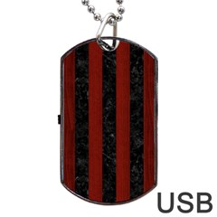 Stripes1 Black Marble & Red Wood Dog Tag Usb Flash (two Sides) by trendistuff