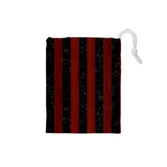 Stripes1 Black Marble & Red Wood Drawstring Pouches (small)  by trendistuff