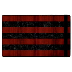Stripes2 Black Marble & Red Wood Apple Ipad 2 Flip Case