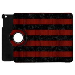 Stripes2 Black Marble & Red Wood Apple Ipad Mini Flip 360 Case by trendistuff