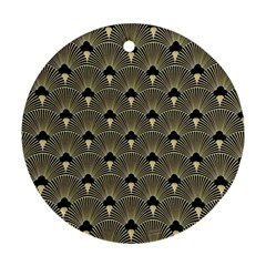 Art Deco Fan Pattern Round Ornament (two Sides) by 8fugoso
