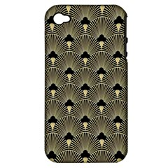 Art Deco Fan Pattern Apple Iphone 4/4s Hardshell Case (pc+silicone) by 8fugoso