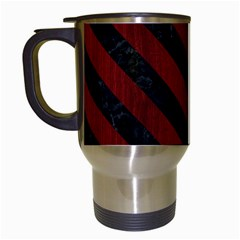 Stripes3 Black Marble & Red Wood Travel Mugs (white) by trendistuff