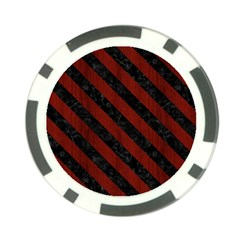 Stripes3 Black Marble & Red Wood Poker Chip Card Guard by trendistuff