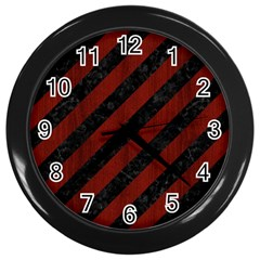 Stripes3 Black Marble & Red Wood (r) Wall Clocks (black) by trendistuff