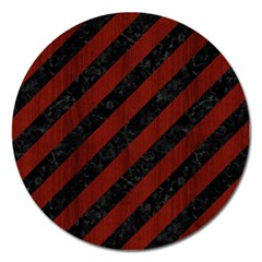 Stripes3 Black Marble & Red Wood (r) Magnet 5  (round) by trendistuff
