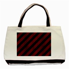 Stripes3 Black Marble & Red Wood (r) Basic Tote Bag (two Sides) by trendistuff