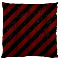 Stripes3 Black Marble & Red Wood (r) Large Cushion Case (two Sides)