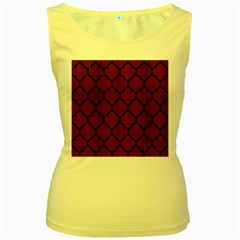 Tile1 Black Marble & Red Wood Women s Yellow Tank Top