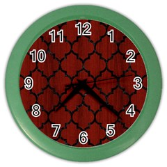 Tile1 Black Marble & Red Wood Color Wall Clocks by trendistuff