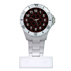 Tile1 Black Marble & Red Wood (r) Plastic Nurses Watch by trendistuff