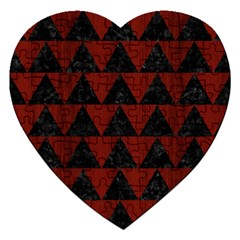 Triangle2 Black Marble & Red Wood Jigsaw Puzzle (heart) by trendistuff