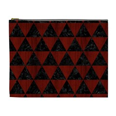 Triangle3 Black Marble & Red Wood Cosmetic Bag (xl) by trendistuff