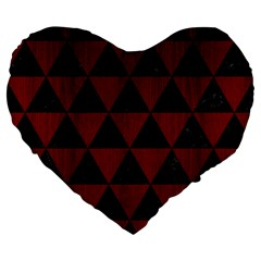 Triangle3 Black Marble & Red Wood Large 19  Premium Flano Heart Shape Cushions by trendistuff