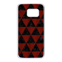 Triangle3 Black Marble & Red Wood Samsung Galaxy S7 White Seamless Case by trendistuff