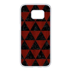 Triangle3 Black Marble & Red Wood Samsung Galaxy S7 Edge White Seamless Case by trendistuff
