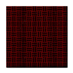 Woven1 Black Marble & Red Wood Tile Coasters by trendistuff