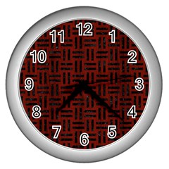 Woven1 Black Marble & Red Wood Wall Clocks (silver)  by trendistuff