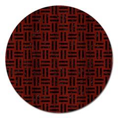 Woven1 Black Marble & Red Wood Magnet 5  (round) by trendistuff