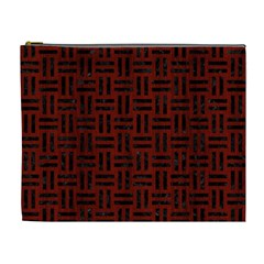 Woven1 Black Marble & Red Wood Cosmetic Bag (xl) by trendistuff