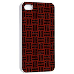 Woven1 Black Marble & Red Wood Apple Iphone 4/4s Seamless Case (white) by trendistuff