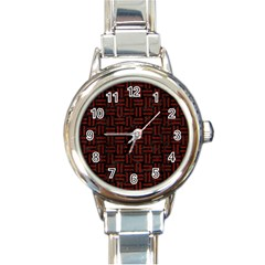 Woven1 Black Marble & Red Wood (r) Round Italian Charm Watch by trendistuff